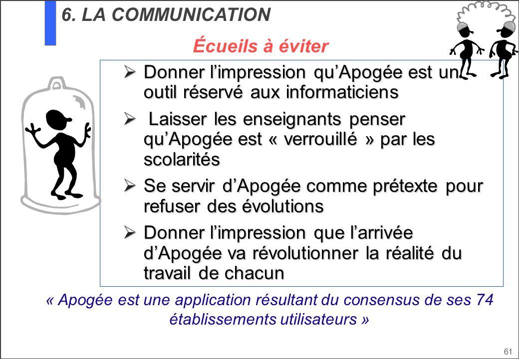 61 6. LA COMMUNICATION Donner limpression quApogée est un outil réservé aux informaticiens Donner limpression quApogée est un outil réservé aux inform