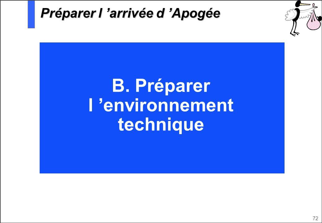 72 B. Préparer l environnement technique Préparer l arrivée d Apogée