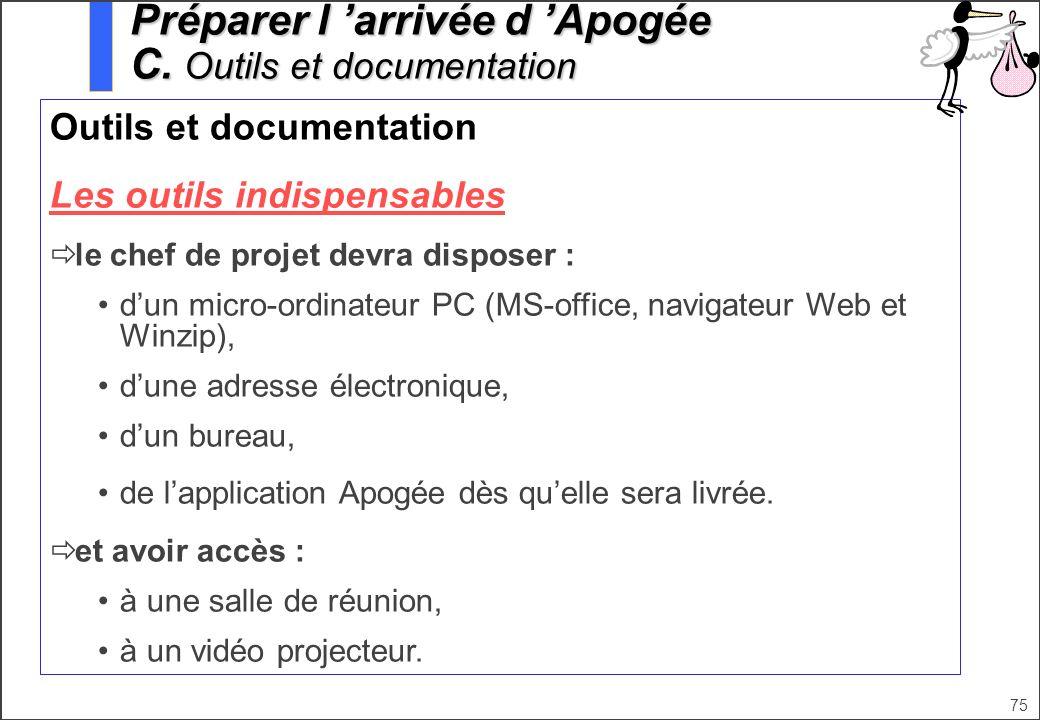 75 Outils et documentation Les outils indispensables le chef de projet devra disposer : dun micro-ordinateur PC (MS-office, navigateur Web et Winzip),