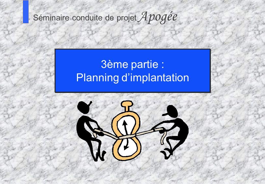 77 Séminaire Conduite de projet Apogée S Séminaire conduite de projet Apogée 3ème partie : Planning dimplantation