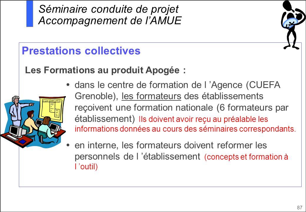 87 Prestations collectives Les Formations au produit Apogée : dans le centre de formation de l Agence (CUEFA Grenoble), les formateurs des établisseme