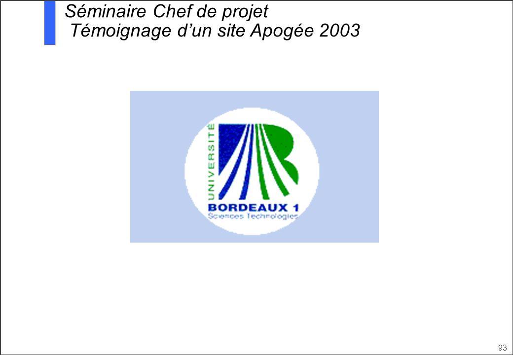 93 Séminaire Chef de projet Témoignage dun site Apogée 2003