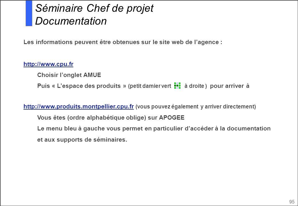 95 Séminaire Chef de projet Documentation Les informations peuvent être obtenues sur le site web de lagence : http://www.cpu.fr Choisir longlet AMUE P