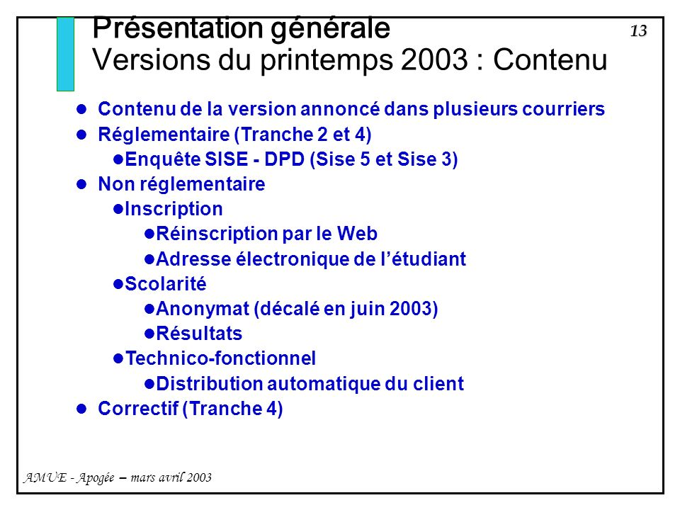 13 AMUE - Apogée – mars avril 2003 Présentation générale Versions du printemps 2003 : Contenu Contenu de la version annoncé dans plusieurs courriers Réglementaire (Tranche 2 et 4) Enquête SISE - DPD (Sise 5 et Sise 3) Non réglementaire Inscription Réinscription par le Web Adresse électronique de létudiant Scolarité Anonymat (décalé en juin 2003) Résultats Technico-fonctionnel Distribution automatique du client Correctif (Tranche 4)