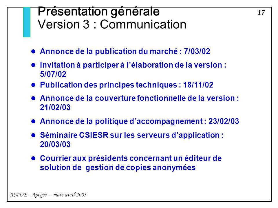 17 AMUE - Apogée – mars avril 2003 Présentation générale Version 3 : Communication Annonce de la publication du marché : 7/03/02 Invitation à particip