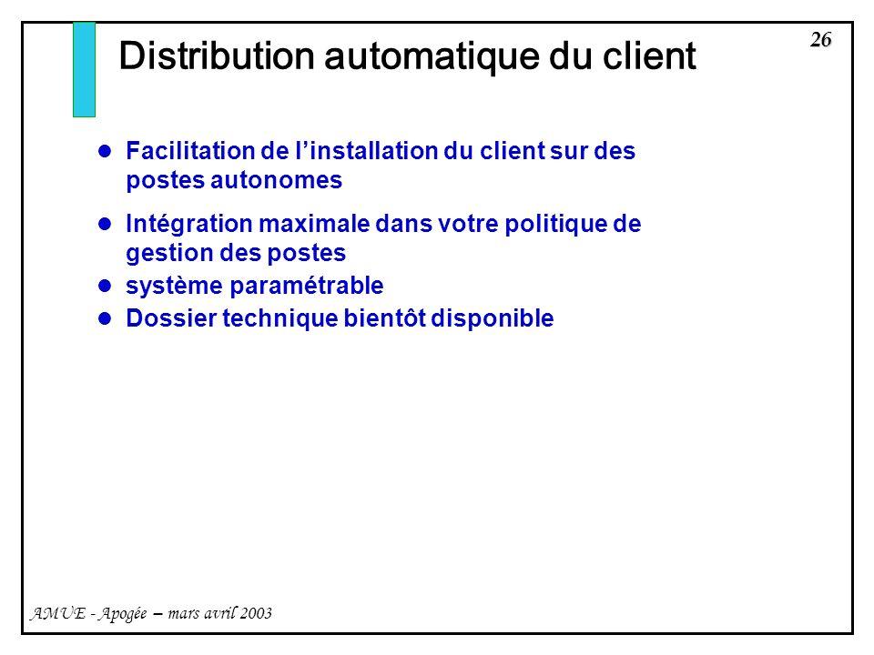 26 AMUE - Apogée – mars avril 2003 Distribution automatique du client Facilitation de linstallation du client sur des postes autonomes Intégration max