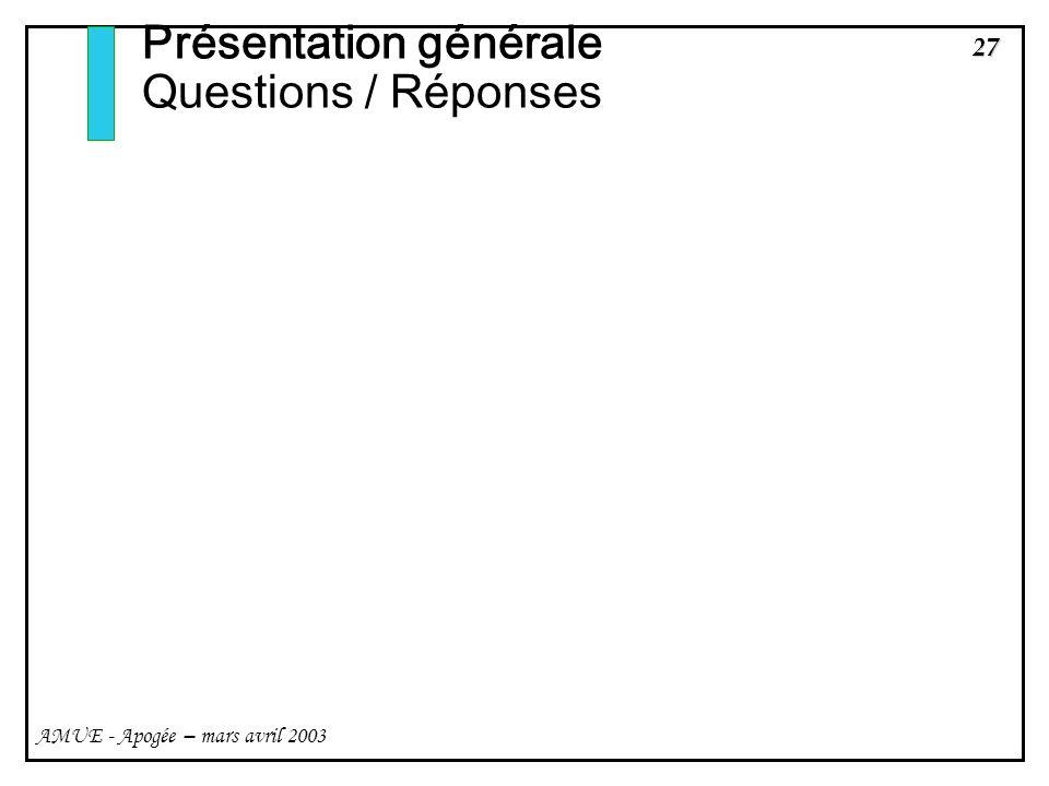 27 AMUE - Apogée – mars avril 2003 Présentation générale Questions / Réponses