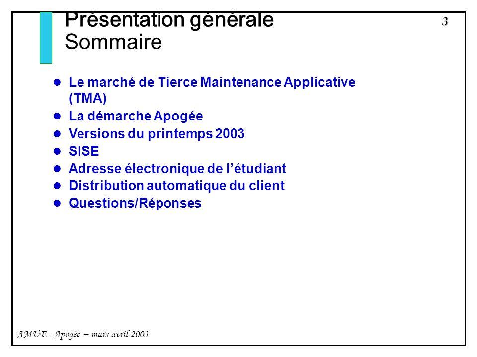 3 AMUE - Apogée – mars avril 2003 Présentation générale Sommaire Le marché de Tierce Maintenance Applicative (TMA) La démarche Apogée Versions du prin