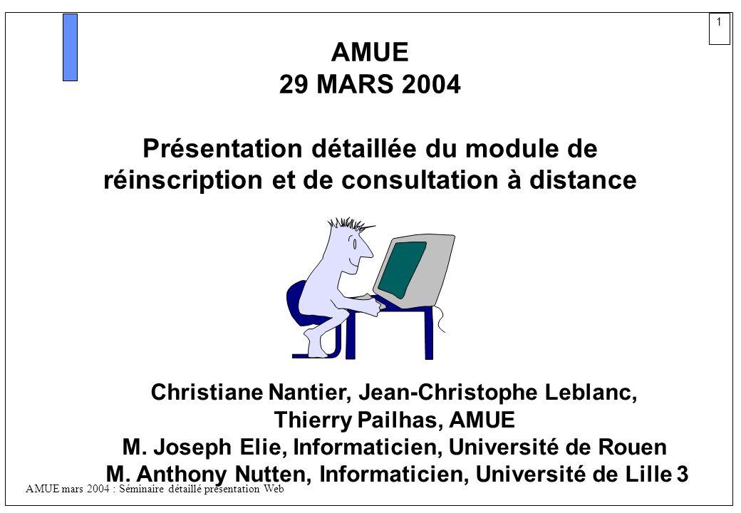 1 AMUE mars 2004 : Séminaire détaillé présentation Web AMUE 29 MARS 2004 Présentation détaillée du module de réinscription et de consultation à distan