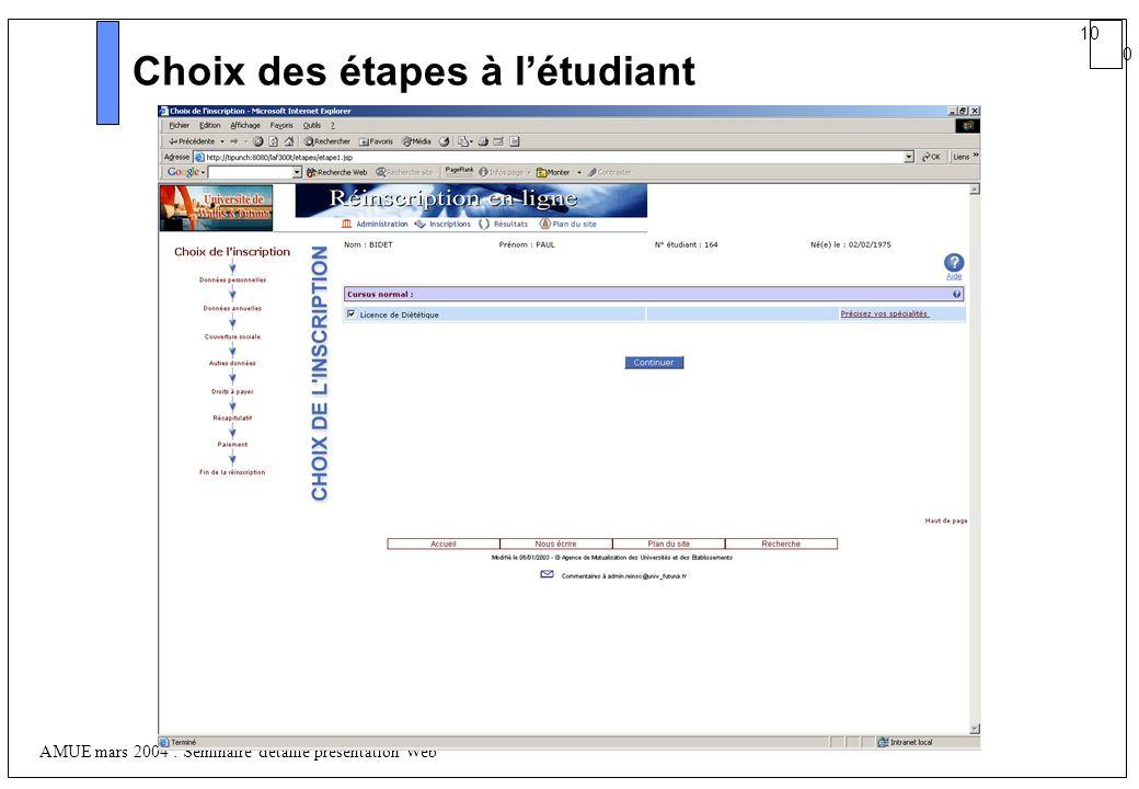 10 0 AMUE mars 2004 : Séminaire détaillé présentation Web Choix des étapes à létudiant