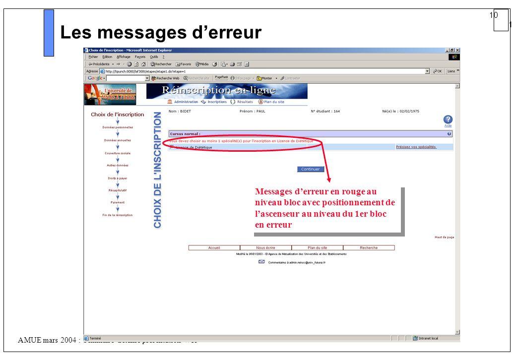 10 1 AMUE mars 2004 : Séminaire détaillé présentation Web Les messages derreur Messages derreur en rouge au niveau bloc avec positionnement de lascens