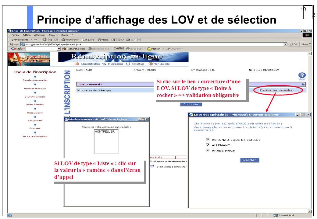 10 2 AMUE mars 2004 : Séminaire détaillé présentation Web Principe daffichage des LOV et de sélection Si clic sur le lien : ouverture dune LOV. Si LOV