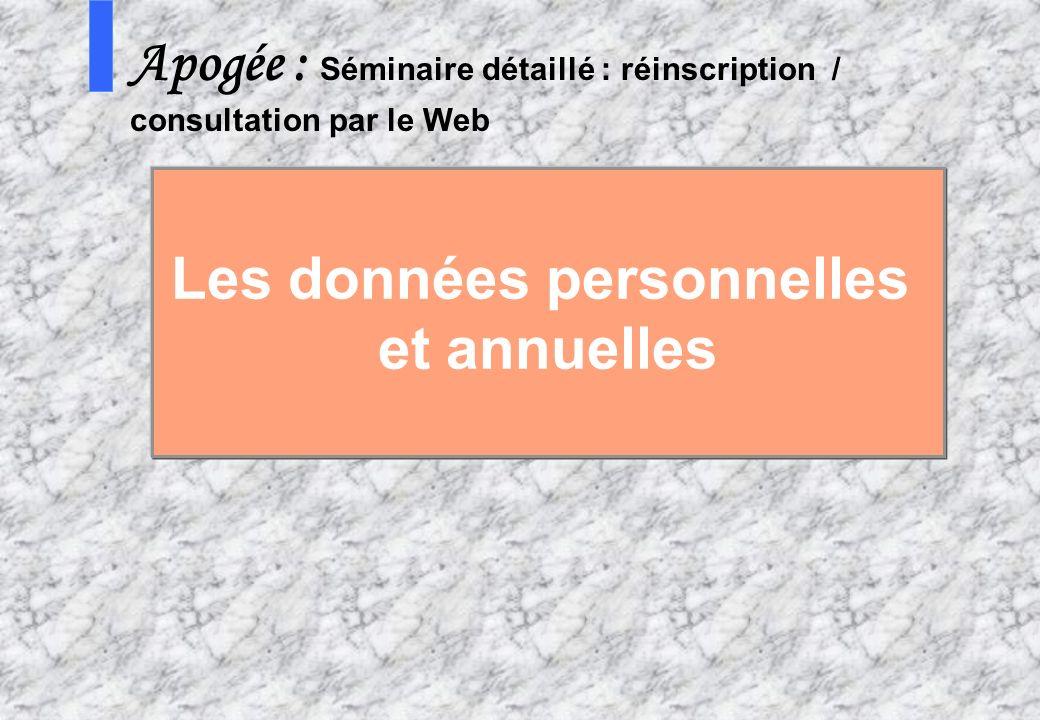 10 4 AMUE mars 2004 : Séminaire détaillé présentation Web S Apogée : Séminaire détaillé : réinscription / consultation par le Web Les données personne