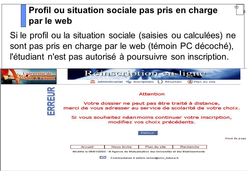 10 8 AMUE mars 2004 : Séminaire détaillé présentation Web Profil ou situation sociale pas pris en charge par le web Si le profil ou la situation socia