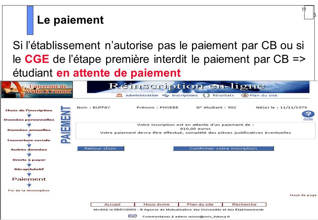 11 3 AMUE mars 2004 : Séminaire détaillé présentation Web Le paiement Si létablissement nautorise pas le paiement par CB ou si le CGE de létape premiè