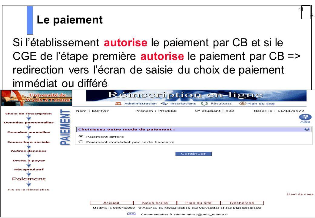 11 4 AMUE mars 2004 : Séminaire détaillé présentation Web Le paiement Si létablissement autorise le paiement par CB et si le CGE de létape première au