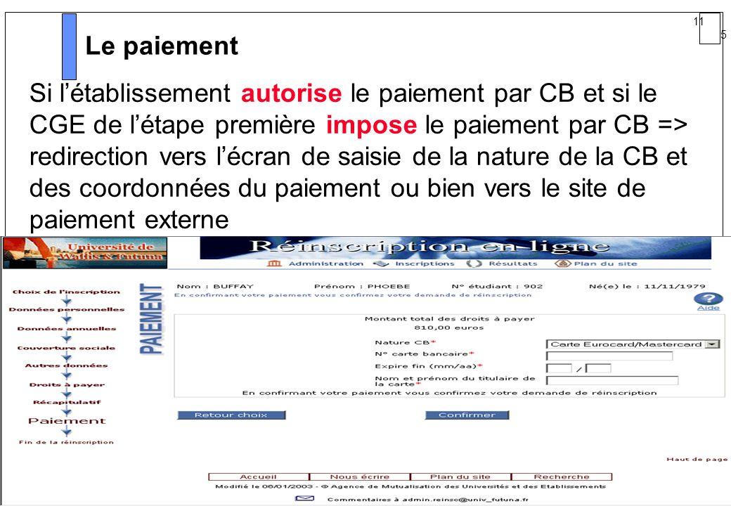 11 5 AMUE mars 2004 : Séminaire détaillé présentation Web Le paiement Si létablissement autorise le paiement par CB et si le CGE de létape première im