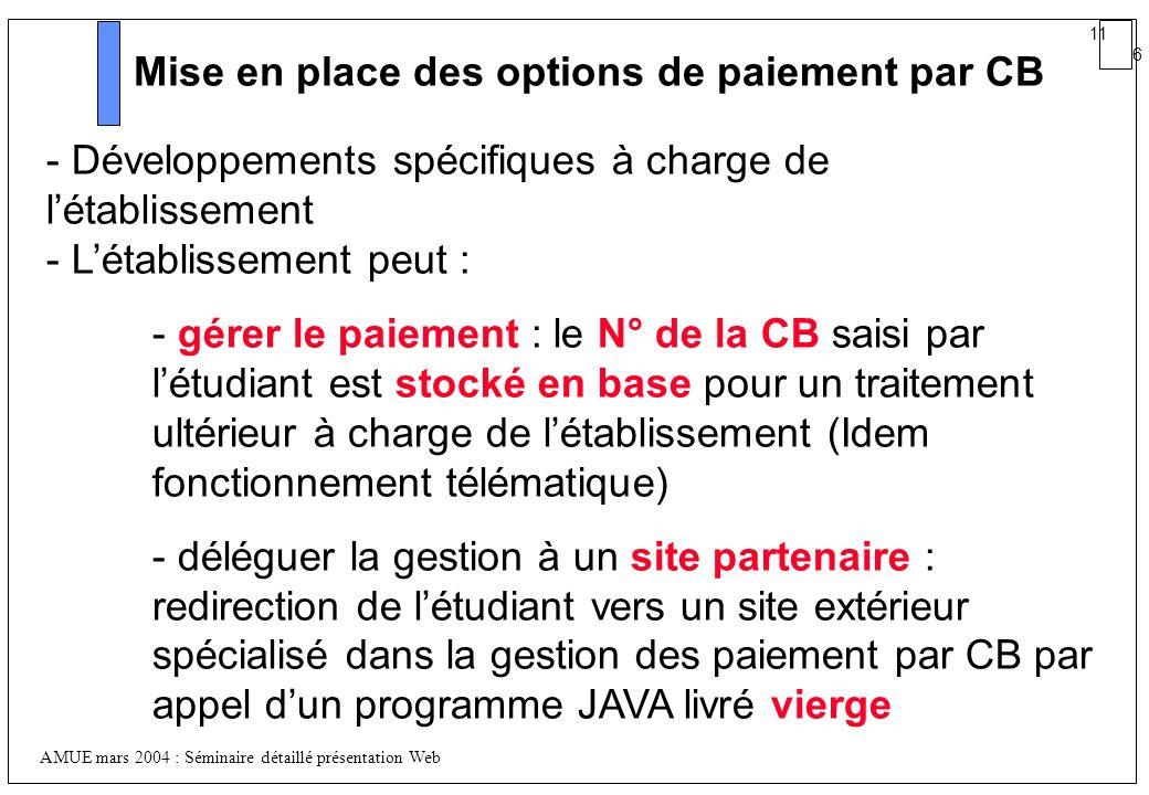 11 6 AMUE mars 2004 : Séminaire détaillé présentation Web Mise en place des options de paiement par CB - Développements spécifiques à charge de létabl