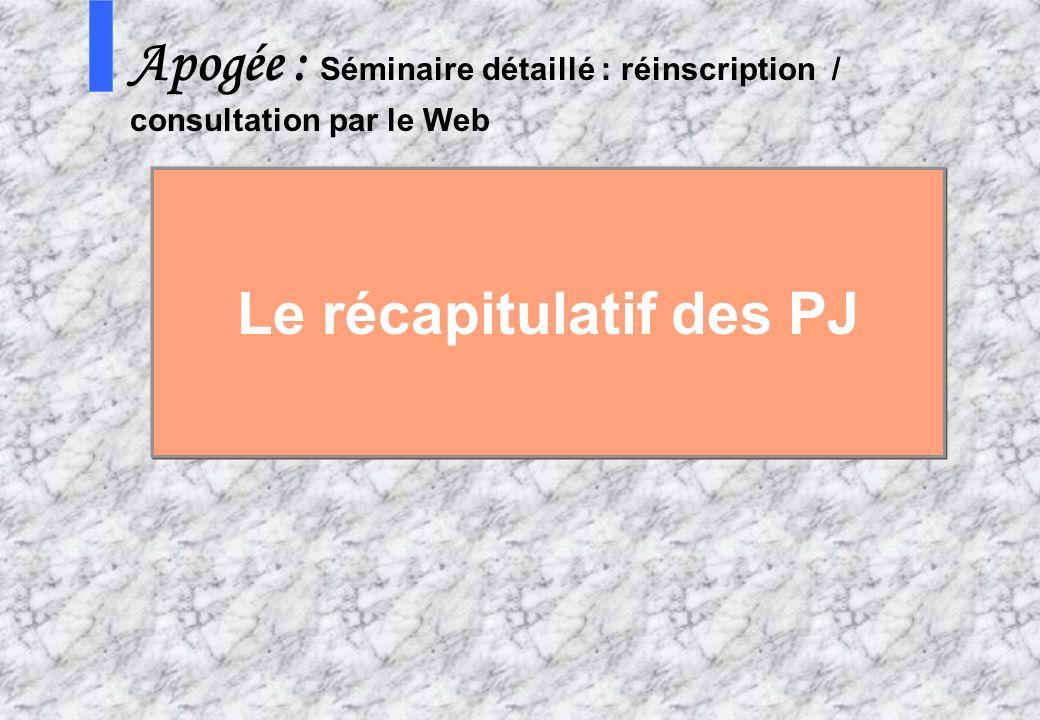 11 8 AMUE mars 2004 : Séminaire détaillé présentation Web S Apogée : Séminaire détaillé : réinscription / consultation par le Web Le récapitulatif des
