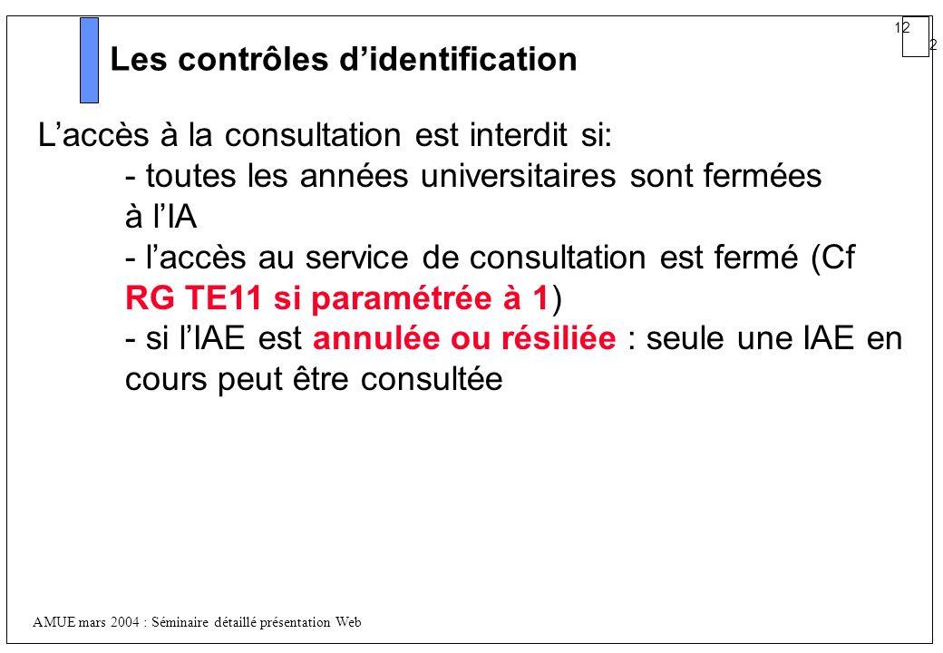 12 2 AMUE mars 2004 : Séminaire détaillé présentation Web Les contrôles didentification Laccès à la consultation est interdit si: - toutes les années