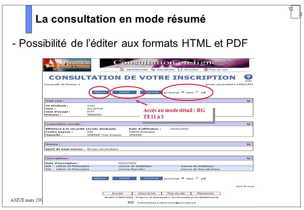 12 3 AMUE mars 2004 : Séminaire détaillé présentation Web La consultation en mode résumé - Possibilité de léditer aux formats HTML et PDF Accès au mod