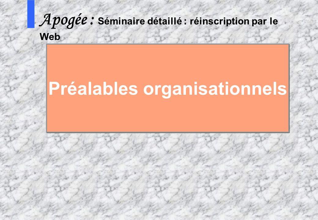 13 AMUE mars 2004 : Séminaire détaillé présentation Web S Apogée : Séminaire détaillé : réinscription par le Web Préalables organisationnels