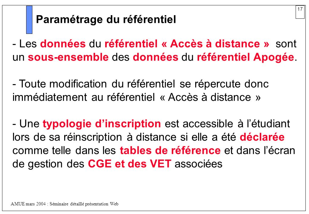 17 AMUE mars 2004 : Séminaire détaillé présentation Web Paramétrage du référentiel - Les données du référentiel « Accès à distance » sont un sous-ense