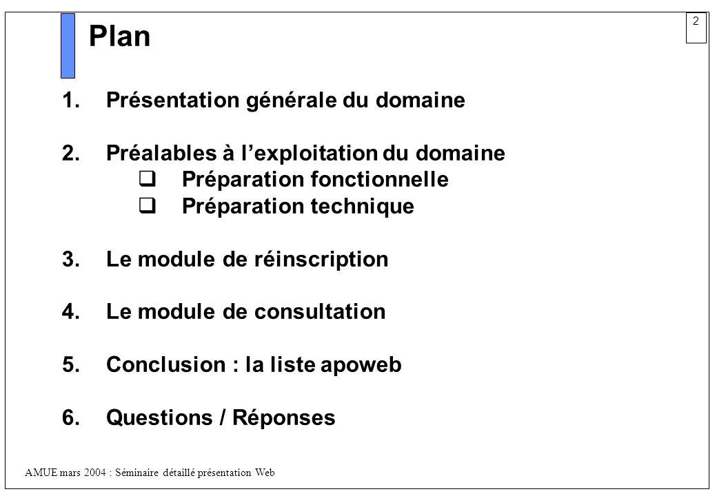 2 AMUE mars 2004 : Séminaire détaillé présentation Web Plan 1.Présentation générale du domaine 2.Préalables à lexploitation du domaine Préparation fon
