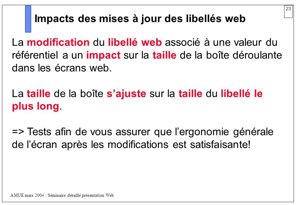 23 AMUE mars 2004 : Séminaire détaillé présentation Web Impacts des mises à jour des libellés web La modification du libellé web associé à une valeur