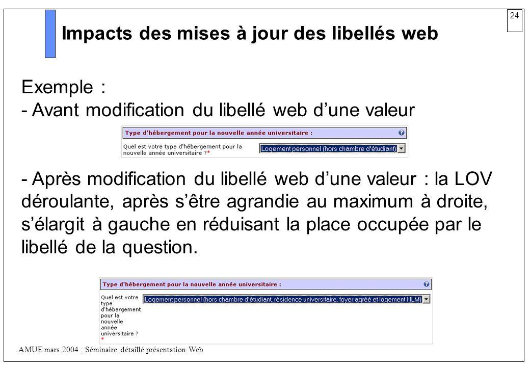 24 AMUE mars 2004 : Séminaire détaillé présentation Web Impacts des mises à jour des libellés web Exemple : - Avant modification du libellé web dune v