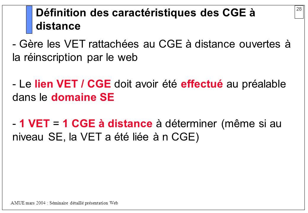 28 AMUE mars 2004 : Séminaire détaillé présentation Web Définition des caractéristiques des CGE à distance - Gère les VET rattachées au CGE à distance