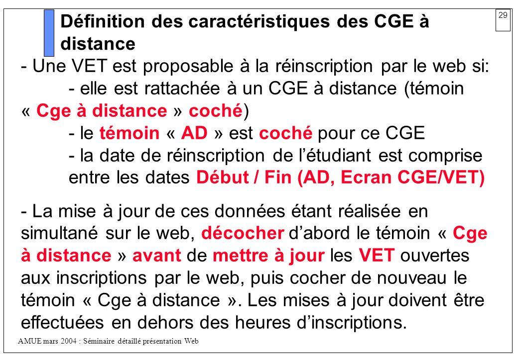 29 AMUE mars 2004 : Séminaire détaillé présentation Web Définition des caractéristiques des CGE à distance - Une VET est proposable à la réinscription