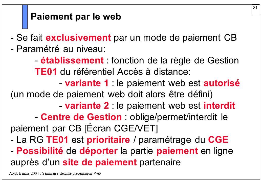 31 AMUE mars 2004 : Séminaire détaillé présentation Web Paiement par le web - Se fait exclusivement par un mode de paiement CB - Paramétré au niveau: