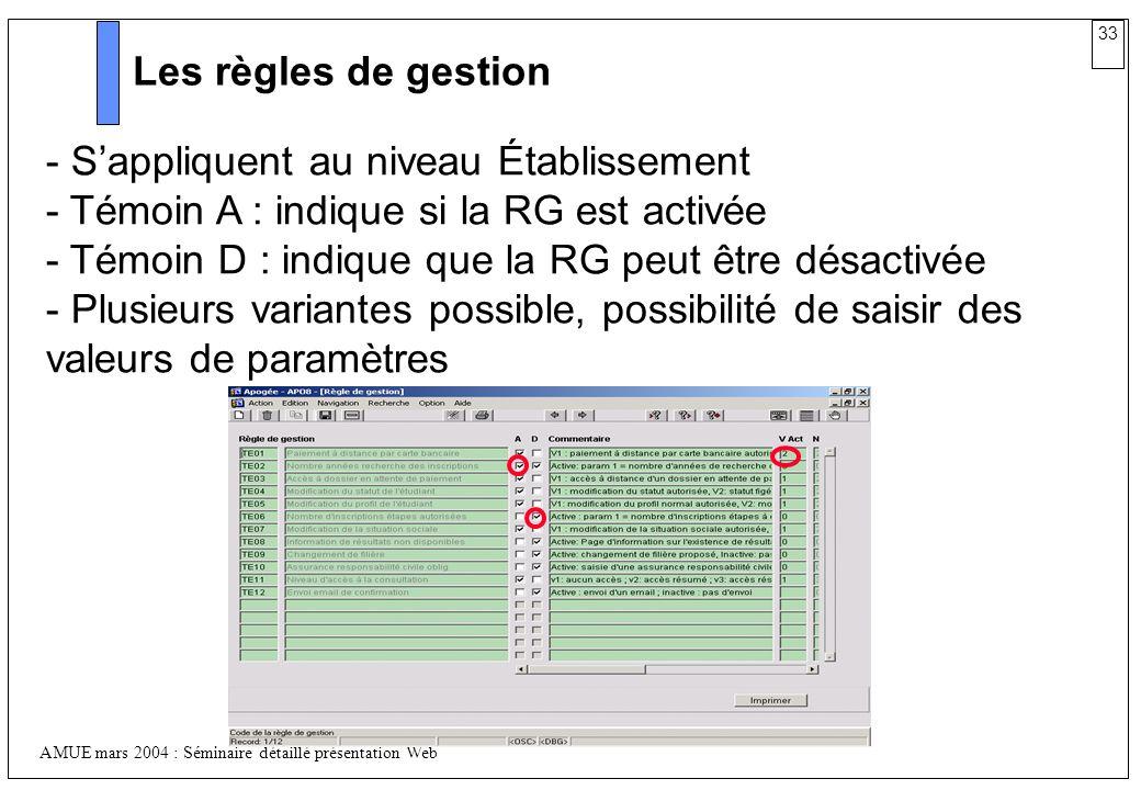 33 AMUE mars 2004 : Séminaire détaillé présentation Web Les règles de gestion - Sappliquent au niveau Établissement - Témoin A : indique si la RG est
