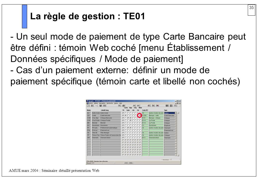 35 AMUE mars 2004 : Séminaire détaillé présentation Web La règle de gestion : TE01 - Un seul mode de paiement de type Carte Bancaire peut être défini