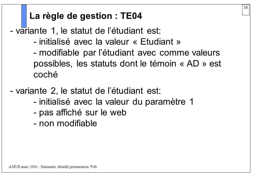 38 AMUE mars 2004 : Séminaire détaillé présentation Web La règle de gestion : TE04 - variante 1, le statut de létudiant est: - initialisé avec la vale