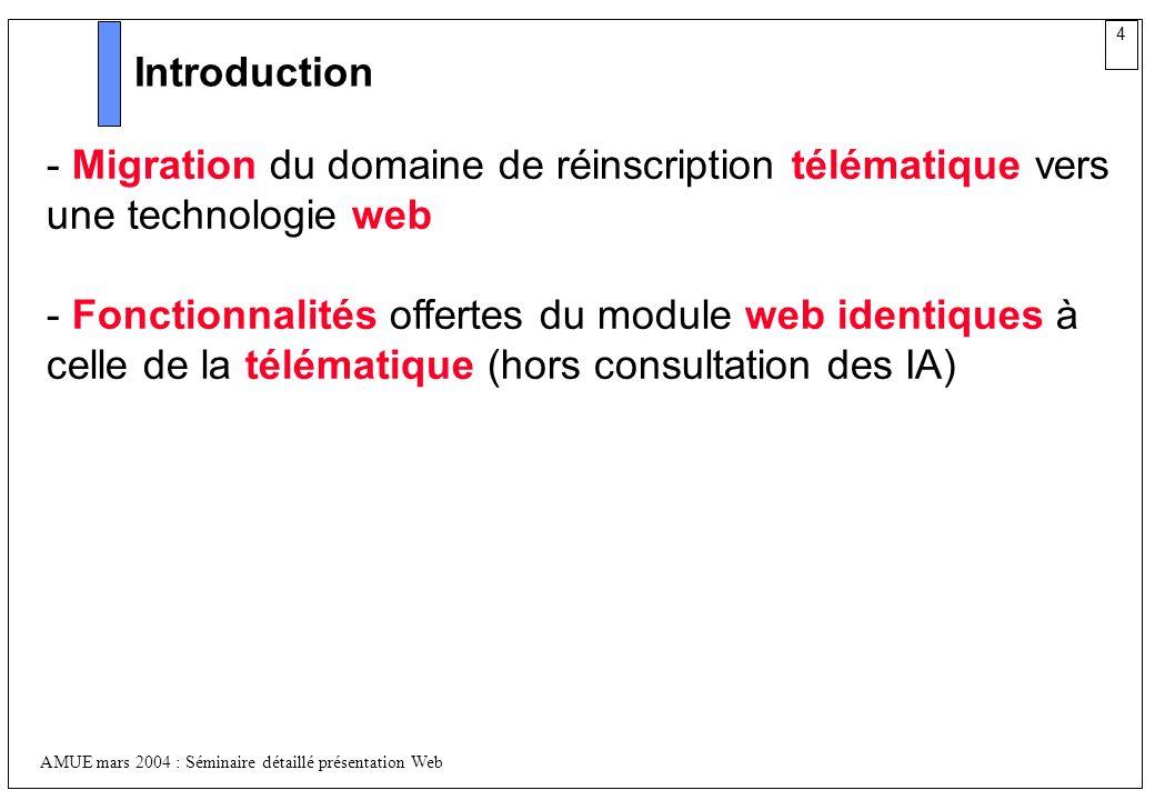 4 AMUE mars 2004 : Séminaire détaillé présentation Web Introduction - Migration du domaine de réinscription télématique vers une technologie web - Fon