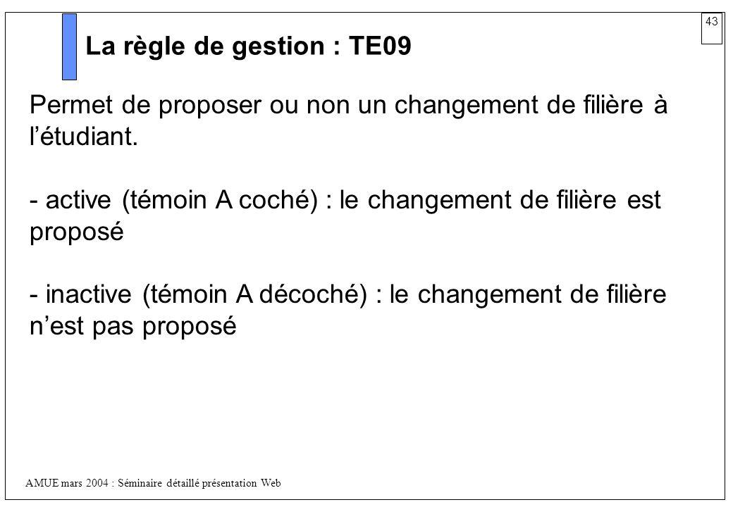 43 AMUE mars 2004 : Séminaire détaillé présentation Web La règle de gestion : TE09 Permet de proposer ou non un changement de filière à létudiant. - a