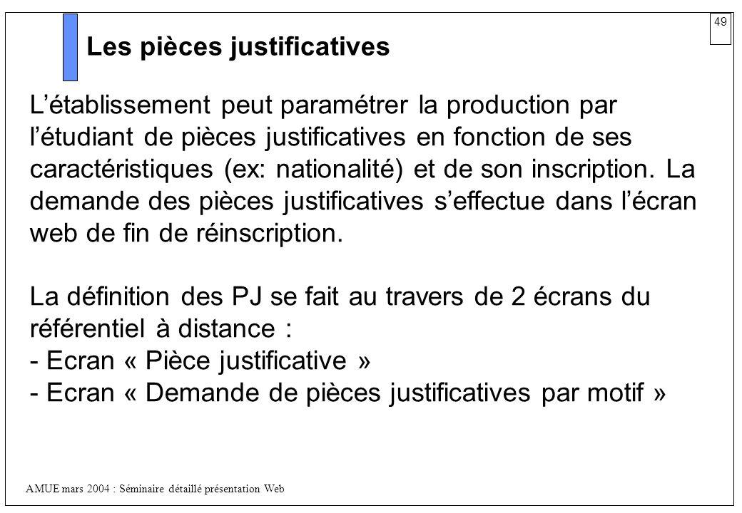 49 AMUE mars 2004 : Séminaire détaillé présentation Web Les pièces justificatives Létablissement peut paramétrer la production par létudiant de pièces