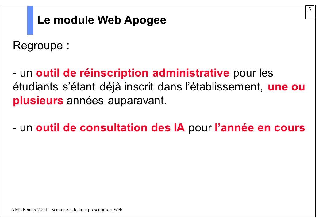 5 AMUE mars 2004 : Séminaire détaillé présentation Web Le module Web Apogee Regroupe : - un outil de réinscription administrative pour les étudiants s