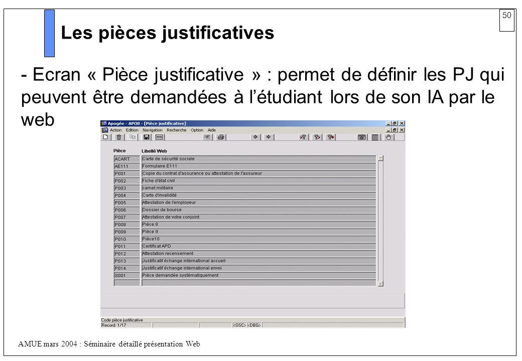 50 AMUE mars 2004 : Séminaire détaillé présentation Web Les pièces justificatives - Ecran « Pièce justificative » : permet de définir les PJ qui peuve