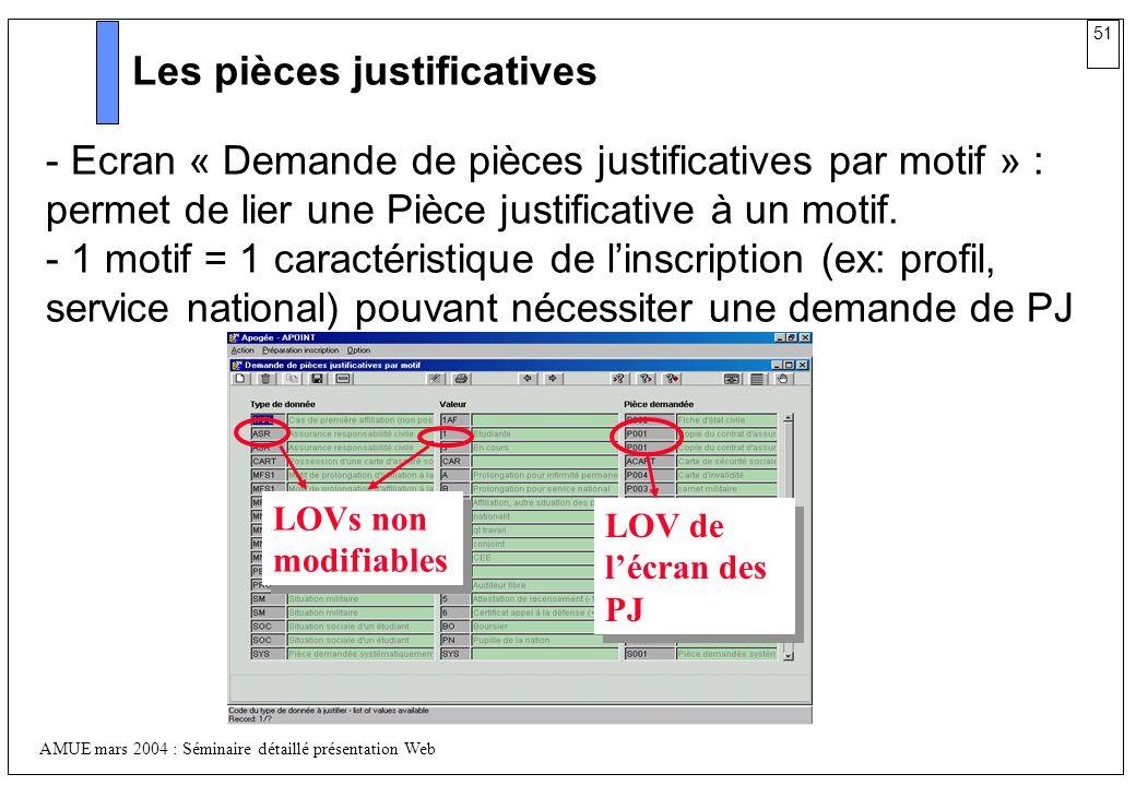 51 AMUE mars 2004 : Séminaire détaillé présentation Web Les pièces justificatives - Ecran « Demande de pièces justificatives par motif » : permet de l
