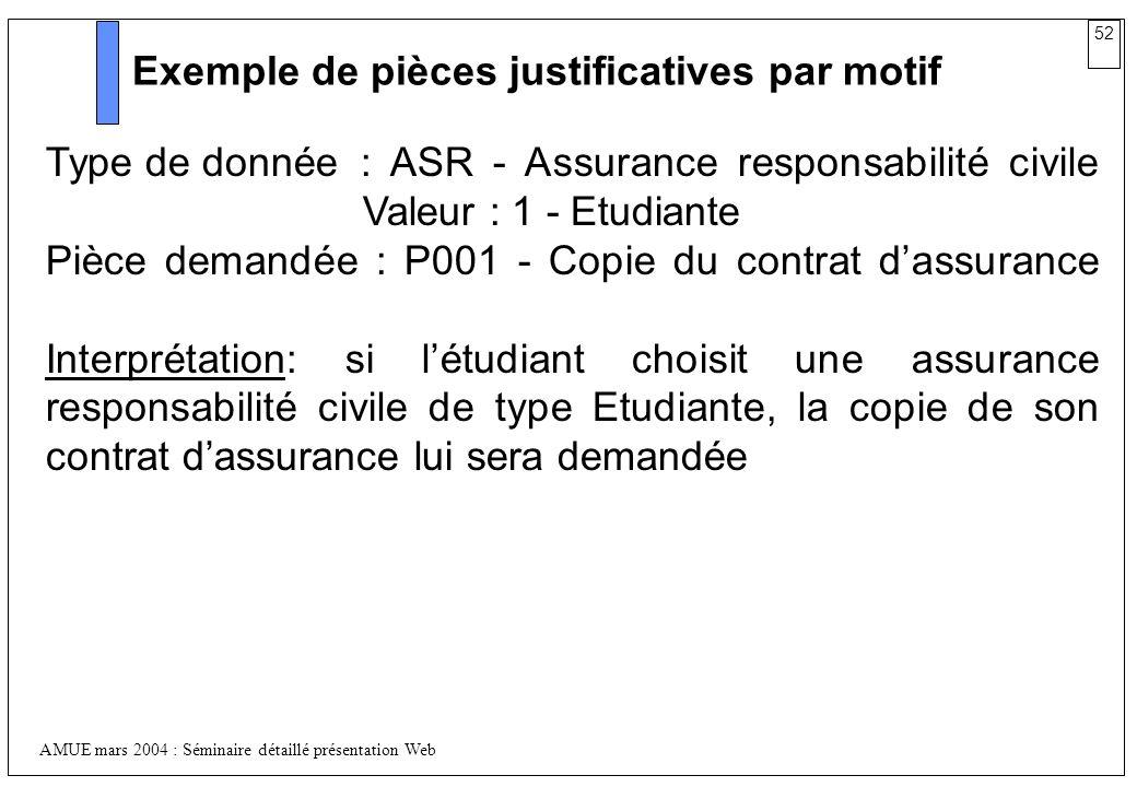 52 AMUE mars 2004 : Séminaire détaillé présentation Web Exemple de pièces justificatives par motif Type de donnée: ASR - Assurance responsabilité civi