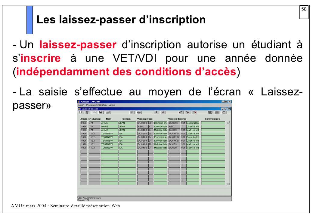 58 AMUE mars 2004 : Séminaire détaillé présentation Web Les laissez-passer dinscription - Un laissez-passer dinscription autorise un étudiant à sinscr