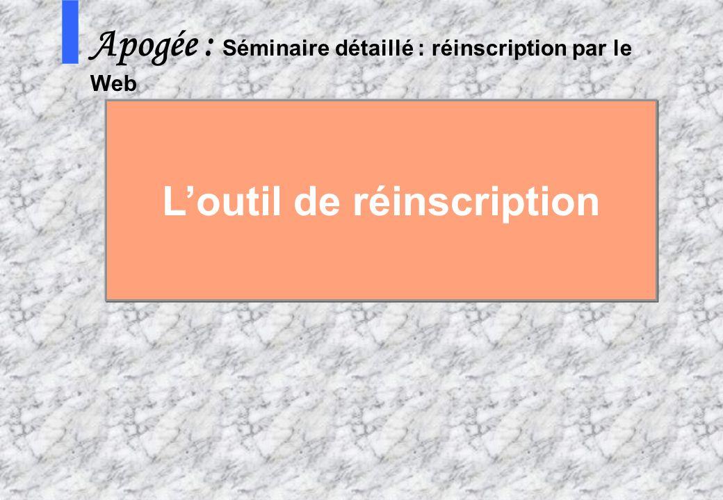 6 AMUE mars 2004 : Séminaire détaillé présentation Web S Apogée : Séminaire détaillé : réinscription par le Web Loutil de réinscription