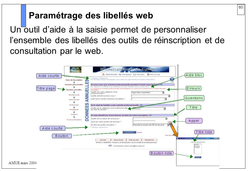 60 AMUE mars 2004 : Séminaire détaillé présentation Web Paramétrage des libellés web Un outil daide à la saisie permet de personnaliser lensemble des