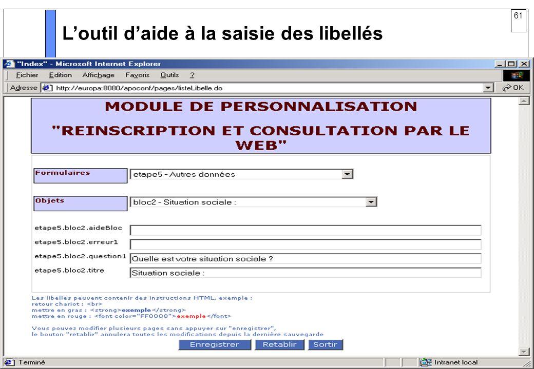 61 AMUE mars 2004 : Séminaire détaillé présentation Web Loutil daide à la saisie des libellés