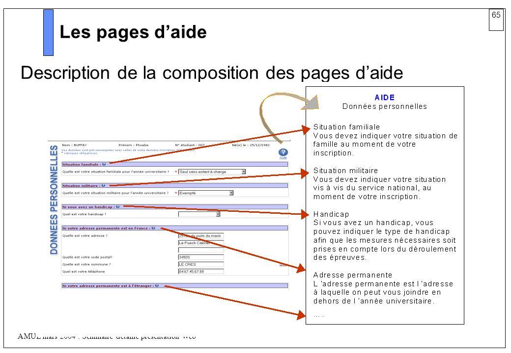 65 AMUE mars 2004 : Séminaire détaillé présentation Web Les pages daide Description de la composition des pages daide