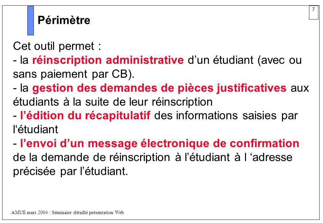7 AMUE mars 2004 : Séminaire détaillé présentation Web Périmètre Cet outil permet : - la réinscription administrative dun étudiant (avec ou sans paiem