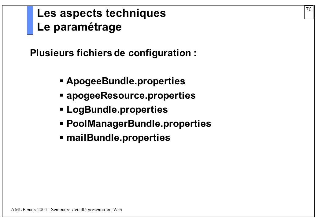 70 AMUE mars 2004 : Séminaire détaillé présentation Web Les aspects techniques Le paramétrage Plusieurs fichiers de configuration : ApogeeBundle.prope